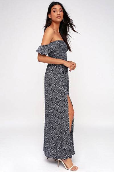 Catch the Sun Navy Blue Print Off-the-Shoulder Maxi Dress - Lulus