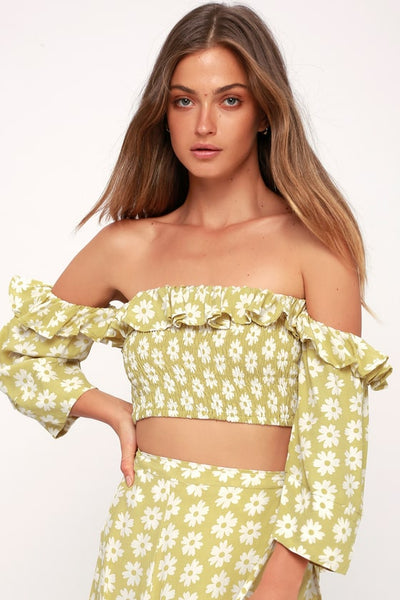 Sybil Washed Green Floral Print Off-the-Shoulder Crop Top - Lulus