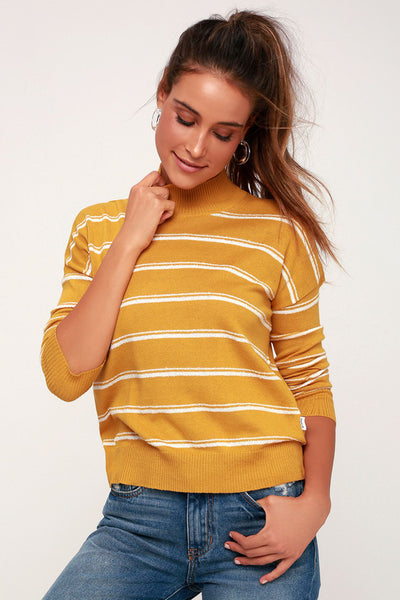 Armed Mustard Yellow Striped Sweater Top - Lulus