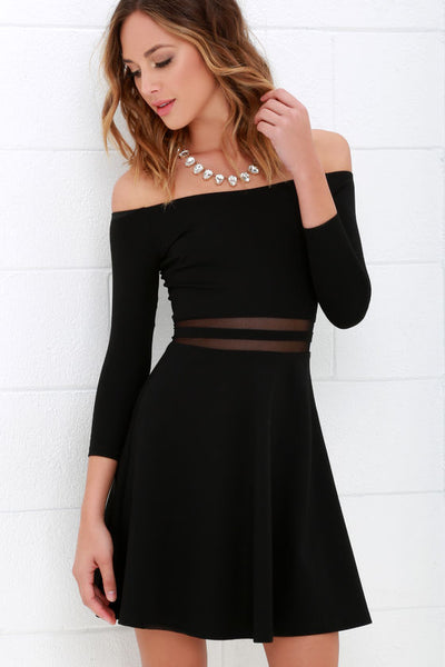 Yes to the Mesh Black Skater Dress - Lulus