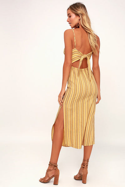 White Sands Yellow Striped Tie-Back Midi Dress - Lulus