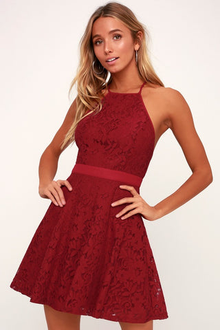 Twirling Around Wine Red Lace Skater Dress - Lulus