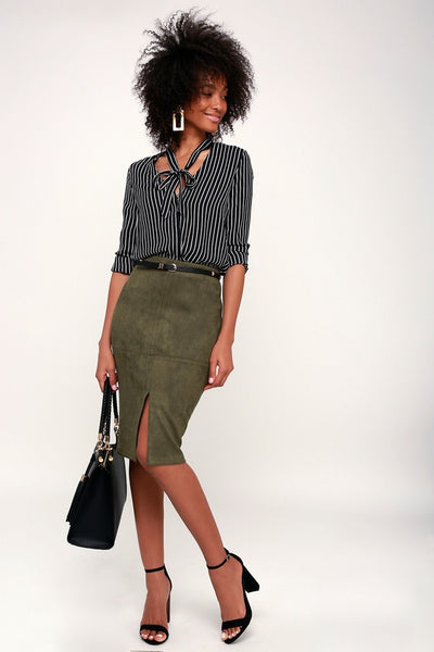 Total Allure Olive Green Suede Pencil Skirt - Lulus