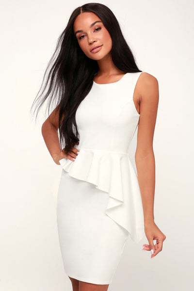 Here and Vow White Ruffled Bodycon Dress - Lulus