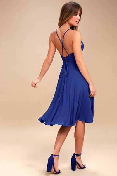 Troulos Royal Blue Lace-Up Midi Dress - Lulus