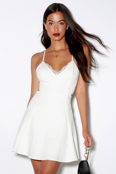 Perfect Evening Ivory Lace Skater Dress - Lulus