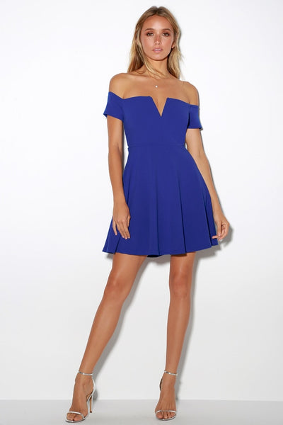 Play the Party Cobalt Blue Off-the-Shoulder Skater Dress - Lulus