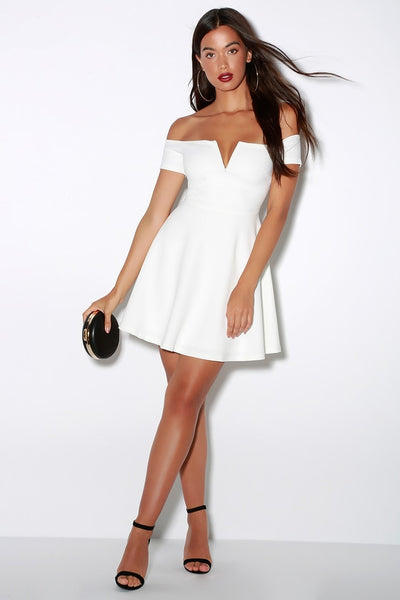 Play the Party White Off-the-Shoulder Skater Dress - Lulus