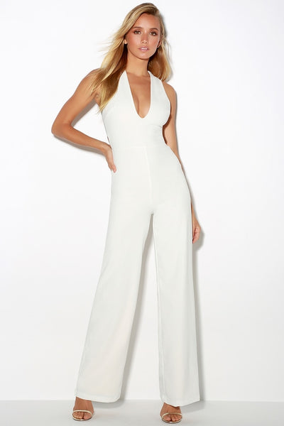 Thinking Out Loud White Backless Jumpsuit - Lulus