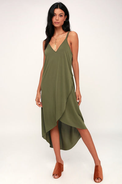 Mood and Melody Olive Green High-Low Dress - Lulus