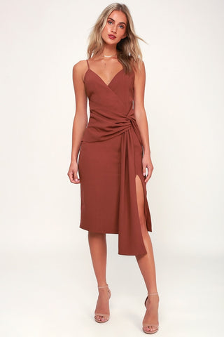 Inspiration Washed Burgundy Knot Front Midi Dress - Lulus