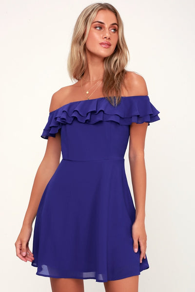 Win Your Heart Royal Blue Ruffle Off-the-Shoulder Skater Dress - Lulus
