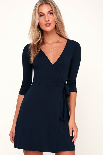 All At Once Navy Blue Three-Quarter Sleeve Wrap Dress - Lulus