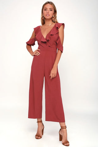 Doozy Rust Red Ruffled Wide-Leg Off-the-Shoulder Jumpsuit - Lulus