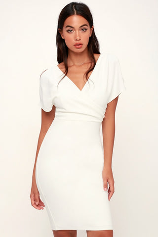 Raquel White Cold Shoulder Surplice Dress - Lulus