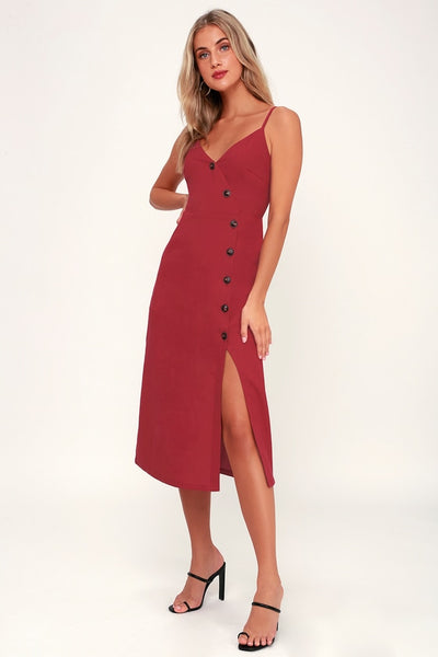 Terrace Sunset Berry Red Button-Front Midi Dress - Lulus