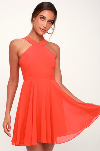 Forevermore Coral Red Skater Dress - Lulus