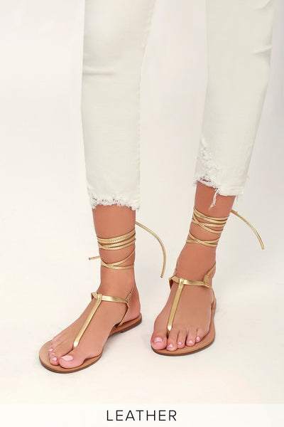 Camren Gold Leather Lace-Up Thong Sandal Heels - Lulus