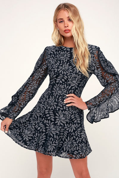 Engage Navy Blue Lace Long Sleeve Dress - Lulus