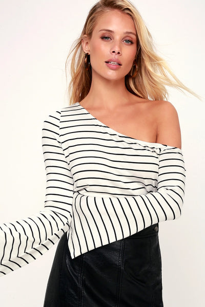 Travers Black and White Striped Off-the-Shoulder Bell Sleeve Top - Lulus