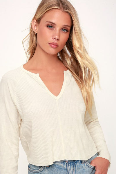 Lacefield Cream Notched Long Sleeve Sweater Top - Lulus
