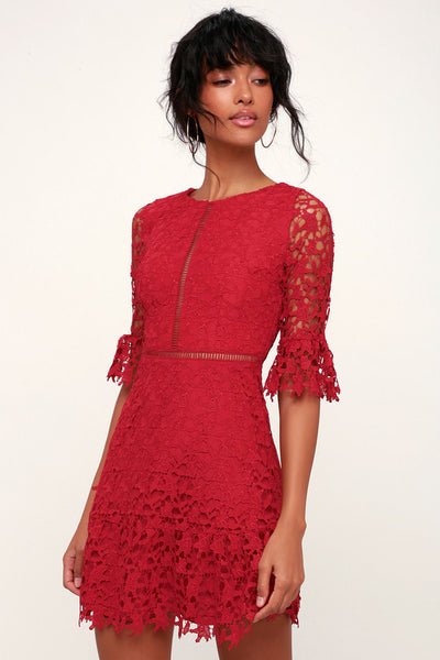In the Moment Wine Red Lace A-Line Dress - Lulus