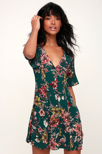 Garden of Delight Forest Green Floral Print Button-Front Dress - Lulus