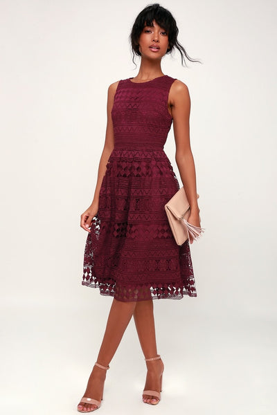 Madly in Love Plum Purple Lace Sleeveless Midi Dress - Lulus