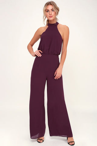 It's a Hit Plum Purple Wide-Leg Halter Jumpsuit - Lulus