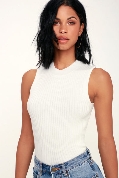 Confidante White Sleeveless Mock Neck Crop Top - Lulus