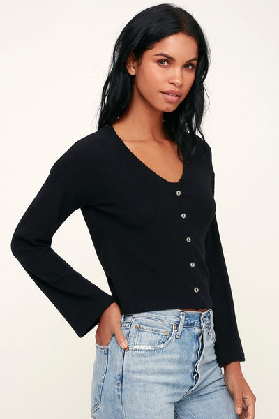 Wessex Black Ribbed Bell Sleeve Cardigan - Lulus