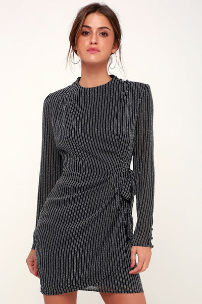 Jolene Black Striped Long Sleeve Wrap Dress - Lulus