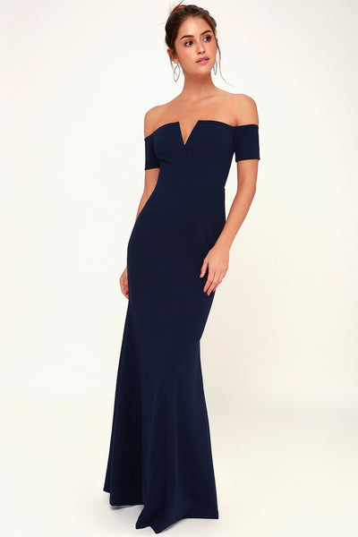 Lynne Navy Blue Off-the-Shoulder Maxi Dress - Lulus