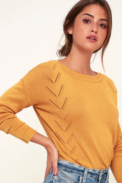 Pointelle Me More Mustard Yellow Knit Sweater - Lulus