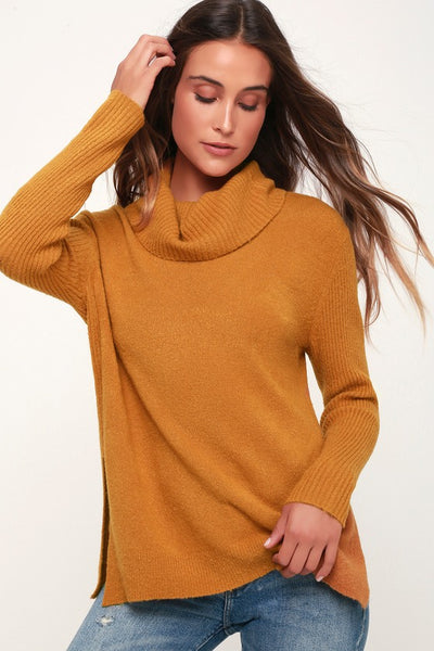 Brant Dark Mustard Cowl Neck Knit Sweater - Lulus