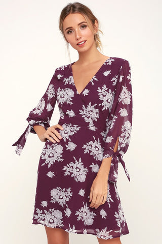 Unbelievable Beauty Purple Floral Print Long Sleeve Skater Dress - Lulus