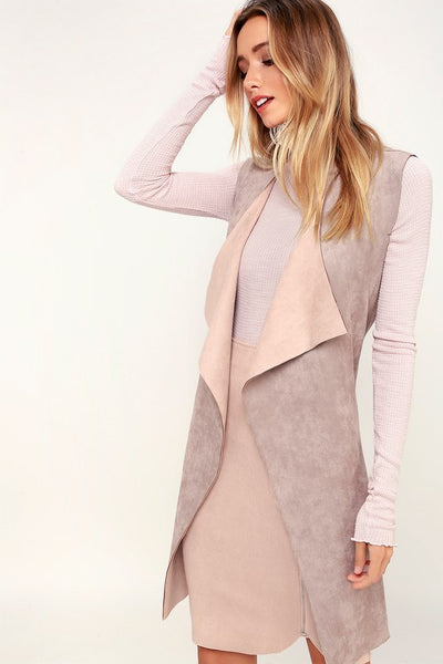 Vest With the Best Dusty Mauve Suede Vest - Lulus