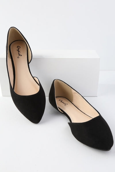 Zooey Black Suede D'Orsay Flats - Lulus