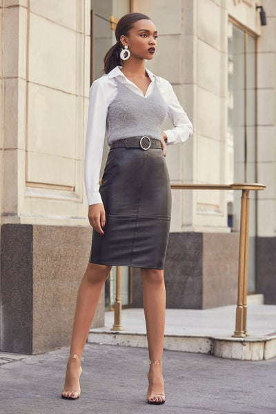 She's Irresistible Black Vegan Leather Pencil Skirt - Lulus