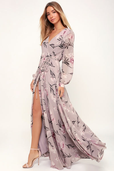 Loving You Dusty Purple Floral Print Long Sleeve Wrap Maxi Dress - Lulus