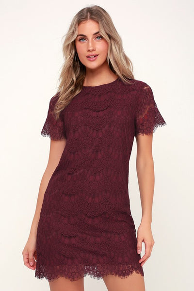 Take Me to Brunch Burgundy Lace Shift Dress - Lulus