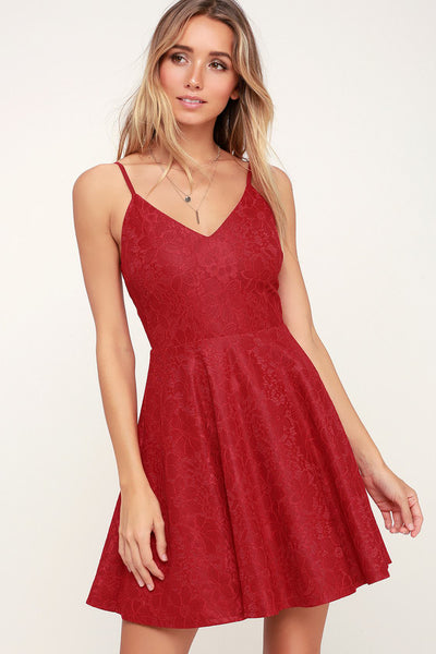 Way With Words Berry Red Lace Skater Dress - Lulus