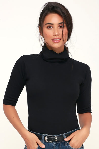 Sunshine Black Turtleneck Top - Lulus