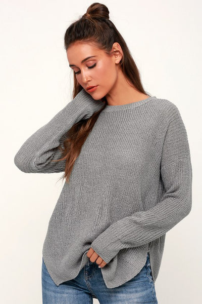 Alyssa Grey Knit Sweater - Lulus