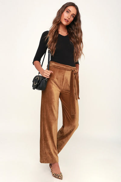 Spread the Love Light Brown Ribbed Velvet Wide-Leg Pants - Lulus