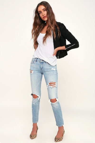 Sasha Light Blue Distressed Low-Rise Skinny Jeans - Lulus