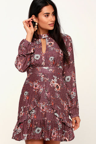 Sundance Purple Floral Print Long Sleeve Dress - Lulus