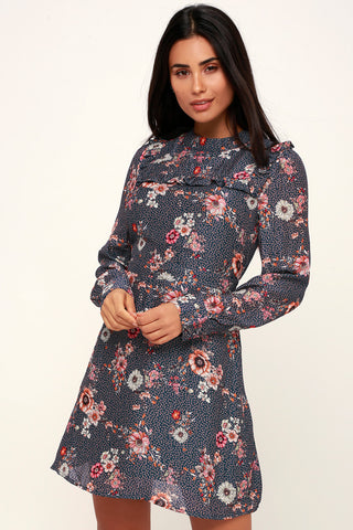 Cassidy Navy Blue Floral Print Mini Dress - Lulus