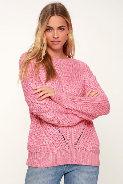 Corrina Pink Oversized Knit Sweater - Lulus