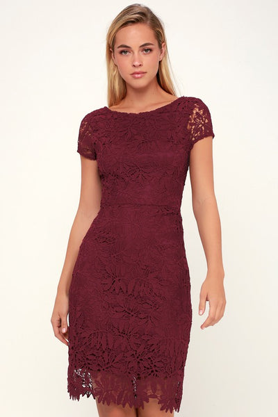Right Sheer, Right Now Burgundy Lace Bodycon Dress - Lulus